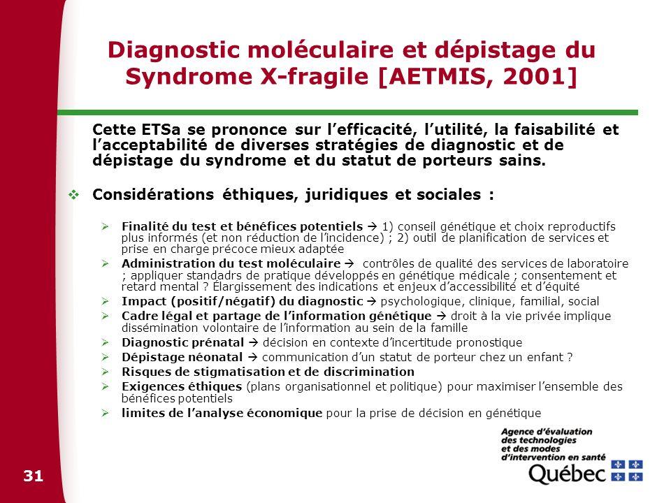 Diagnostic moléculaire et dépistage du Syndrome X-fragile [AETMIS, 2001]
